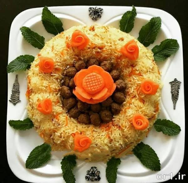 تزیین هویج پلو شیک و زیبا