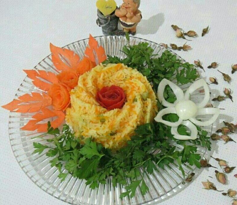 تزیین هویج پلو با مرغ
