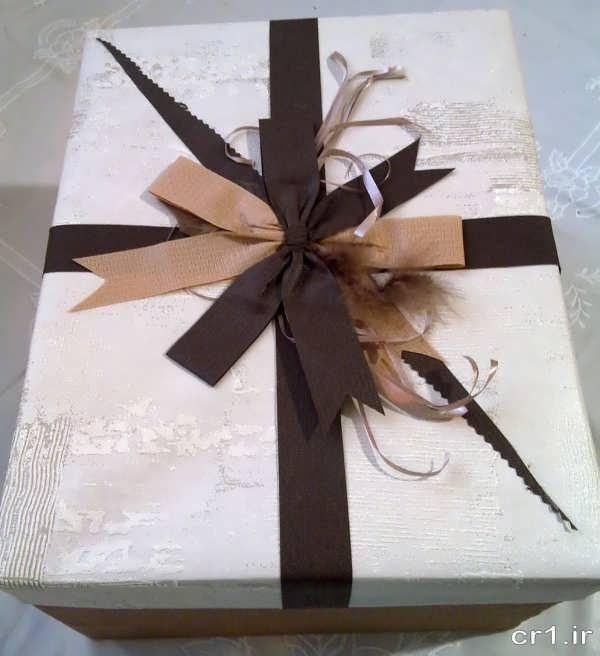 تزیین جعبه شیرینی با روبان