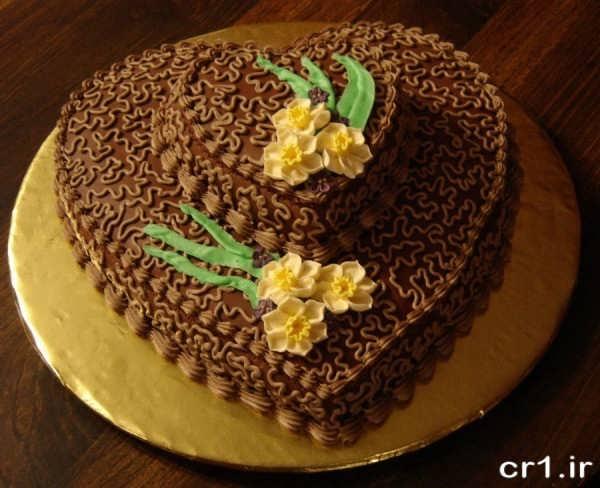 تزیین کیک تولد قلبی با خامه