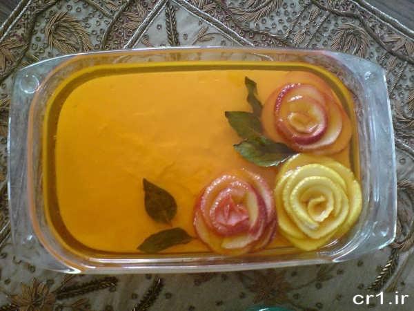 تزیین ژله با سیب به شکل گل