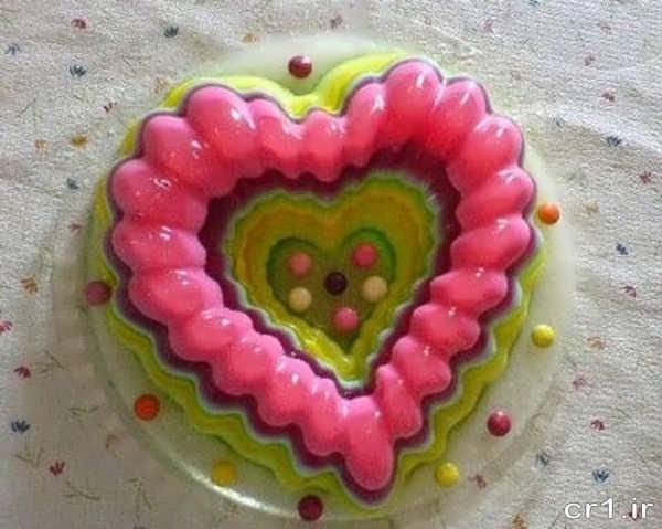 تزیین ژله قلبی با شکلات