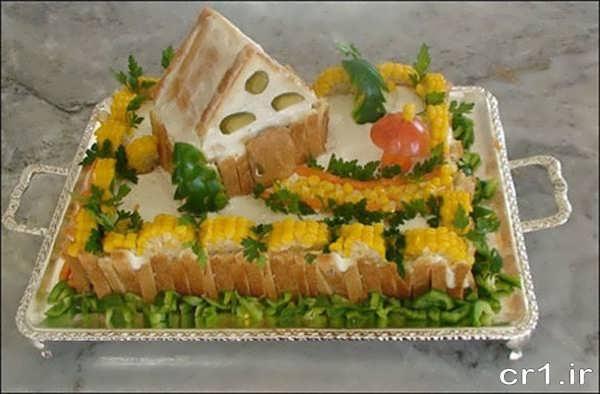 تزیین زیبای سالاد الویه با نان تست