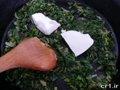 تزرکسی اسفناج و پنیر برای تهیه بورک