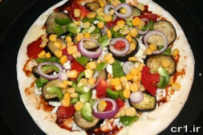 درست کردن پیتزا سبزیجات