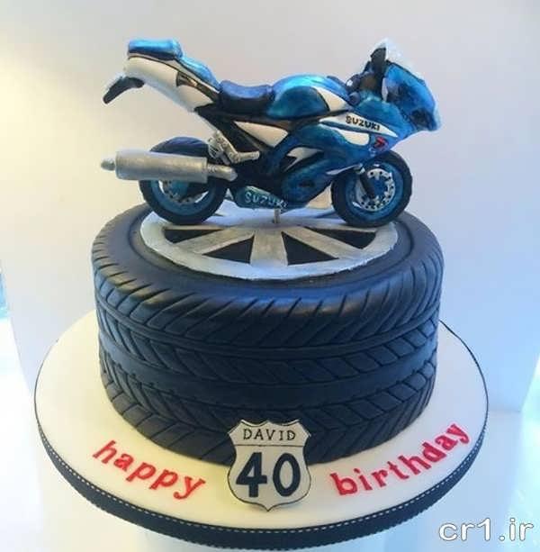 عکس مدل کیک تولد با طرح موتور