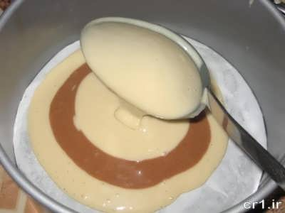 مراحل پخت کیک زبرا