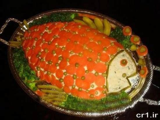 تزیین الویه به شکل ماهی