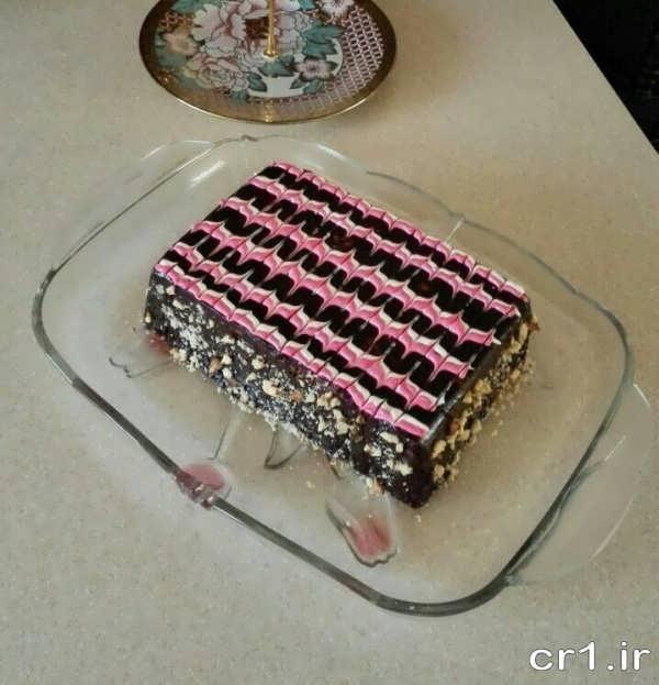 تزیین کیک یخچالی با شکلات تخته ای