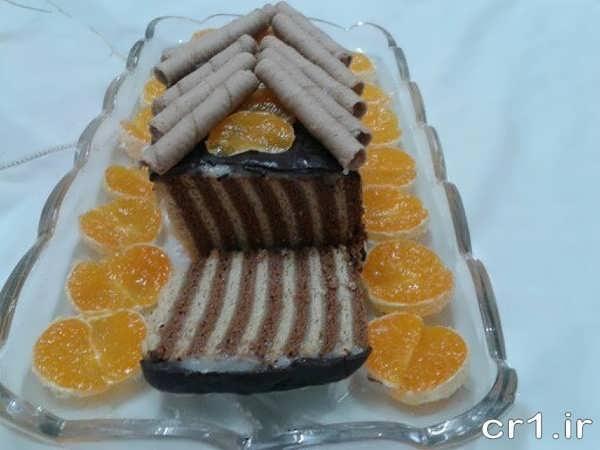 کیک یخچالی به شکل کلبه