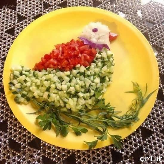 تزیین سالاد شیرازی برای کودکان