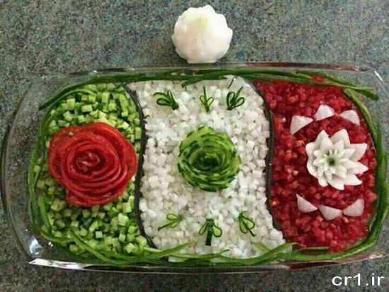 تزیین سالاد شیرازی ساده