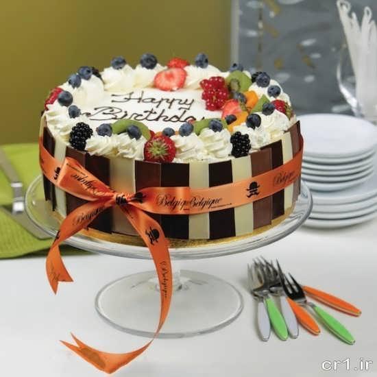 تزیین کیک تولد با میوه