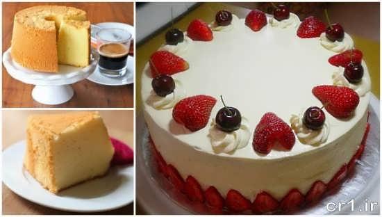 تزیین کیک با گیلاس و توت فرنگی