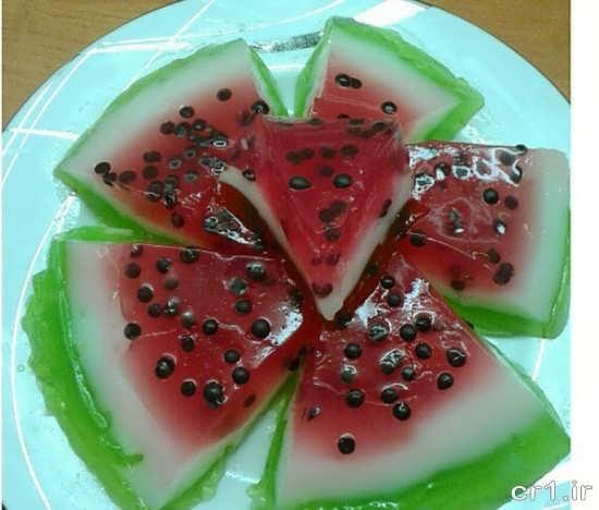 تزیین ژله به شکل برش های هندوانه