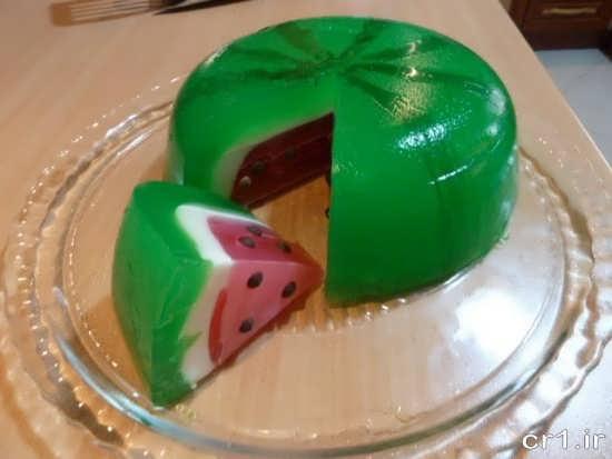 تزیین ژله شب یلدا به شکل هندوانه