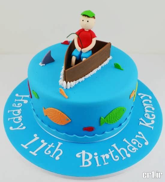 تزیین کیک تولد به شکل دریا
