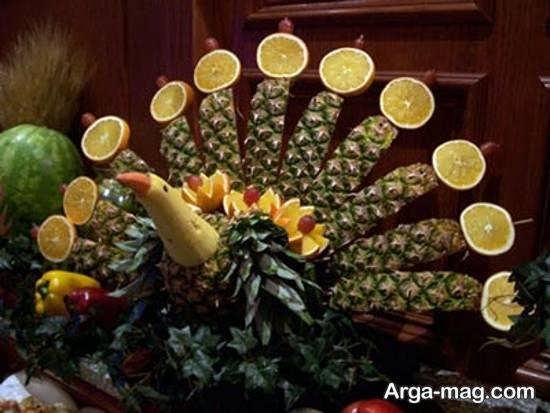 تزیینات آناناس به شکل طاووس