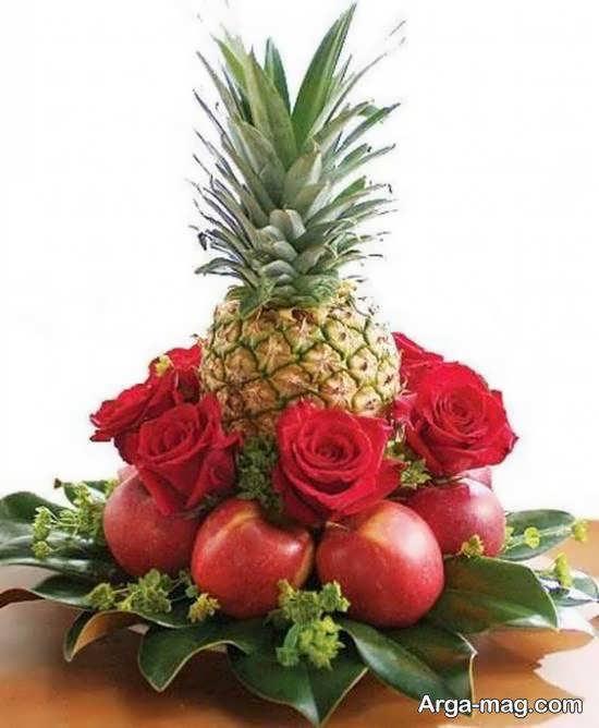 زیبا آرایی آناناس بامیوه و گل