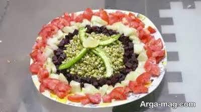 تزیین سالاد شیرازی خلاقانه
