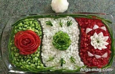 تزیین سالاد شیرازی زیبا و اراسته